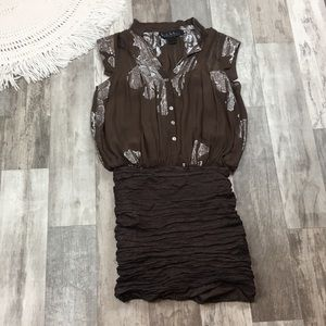 Nicole Miller Size Small Brown and Silver Dress